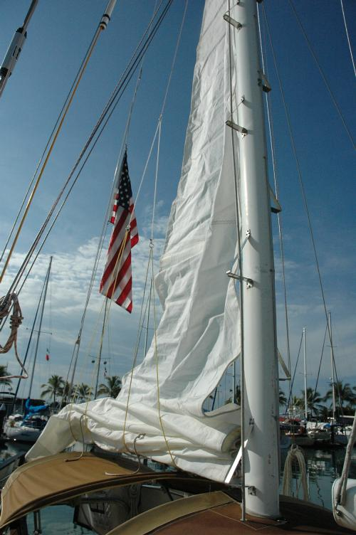 cleaning the sails